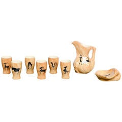 Faux Bois Ceramic Set by Grandjean Jourdan for Vallauris