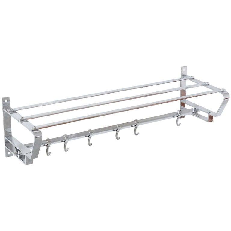 chrome wallmounted coat rack 1
