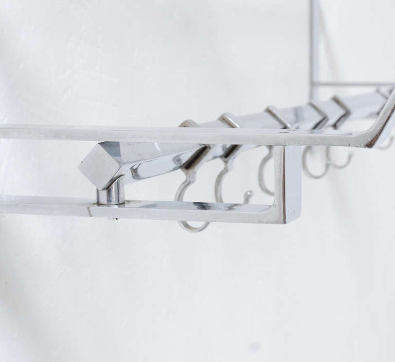 chrome wall mounted coat rack at 1stdibs. Black Bedroom Furniture Sets. Home Design Ideas