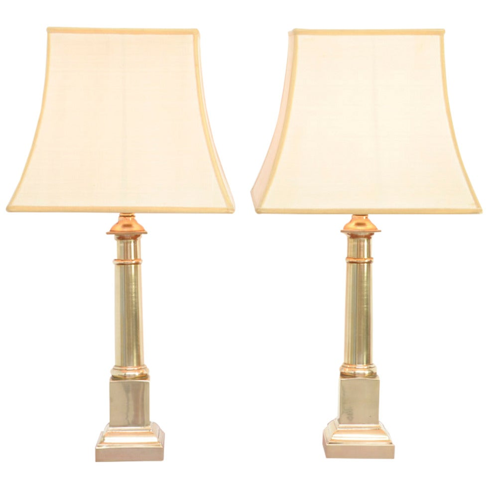 Pair of small brass tuscan column lamps of the 1970s at for Tuscany floor lamp antique brass