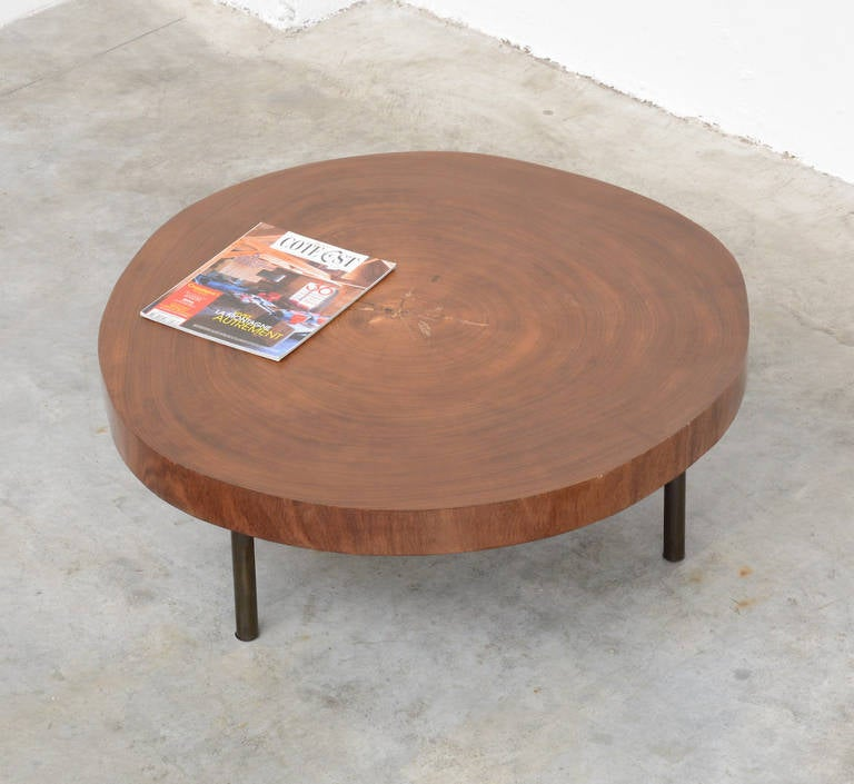 Round 3 Round Coffee Table Made Of Metal Cm ø80x23h: Tree Trunk Coffee Table Of The 1950s At 1stdibs