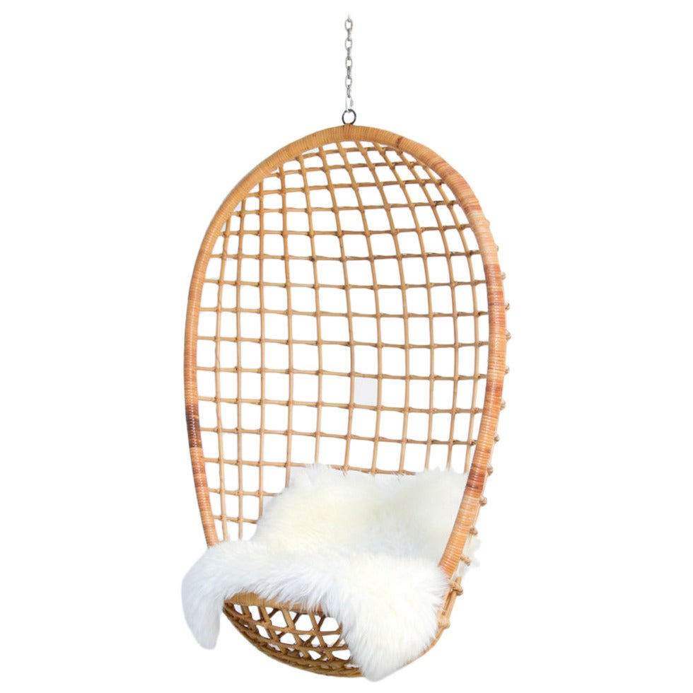1970s hanging rattan egg chair at 1stdibs