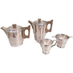 Four-Piece Art Deco Silver Plate Tea and Coffee Service by Walker & Hall