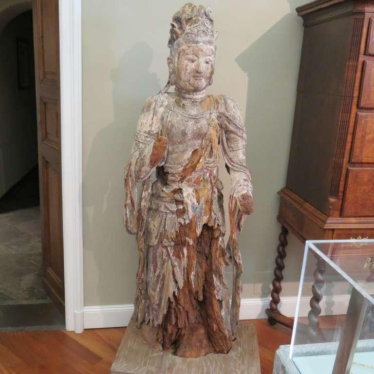 Standing Carved Wood Bodhisattva Avalokiteśvara, Guanyin, China, 1368-1644 2