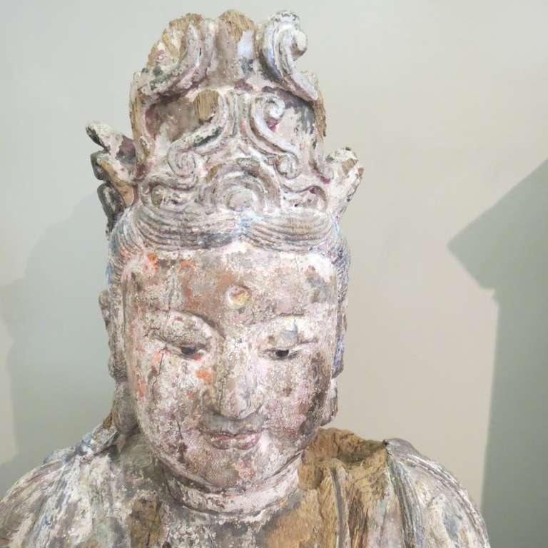 Ming Standing Carved Wood Bodhisattva Avalokiteśvara, Guanyin, China, 1368-1644 For Sale