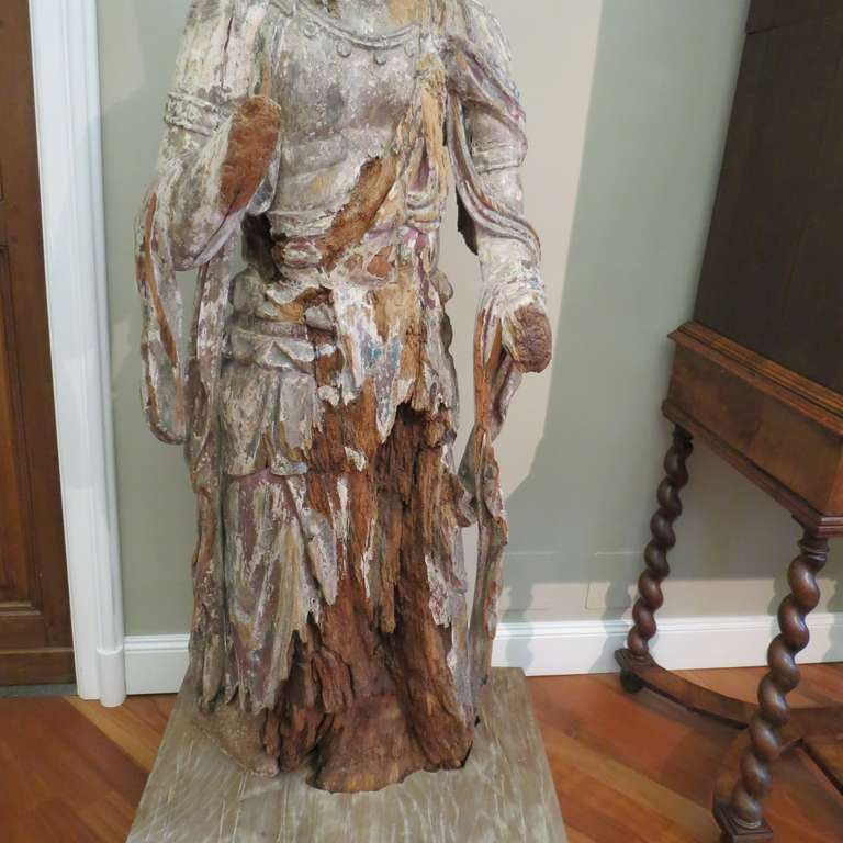 18th Century and Earlier Standing Carved Wood Bodhisattva Avalokiteśvara, Guanyin, China, 1368-1644 For Sale