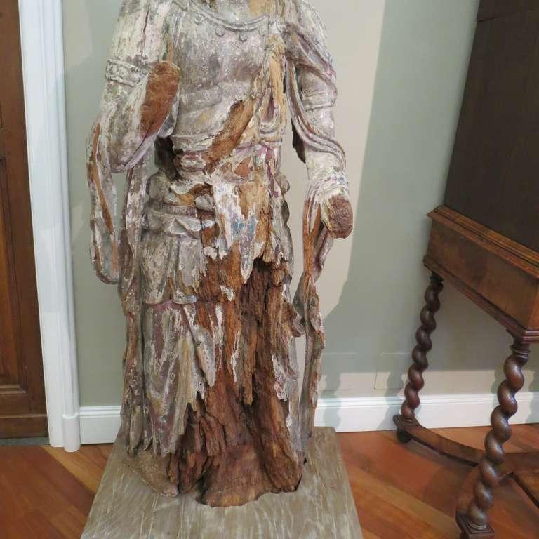 Standing Carved Wood Bodhisattva Avalokiteśvara, Guanyin, China, 1368-1644 6