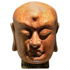 Fine Chinese Wood Head Sculpture of a Luohan