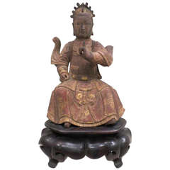 Fine Hard Wood Sculpture of a Deity, China, Ch'ien-Lung Kingdom, 1736-1795