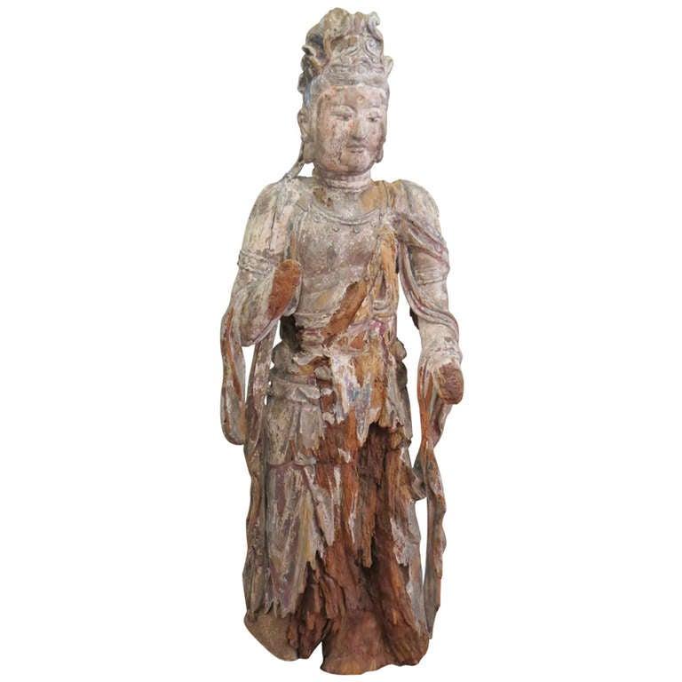 Standing Carved Wood Bodhisattva Avalokiteśvara, Guanyin, China, 1368-1644
