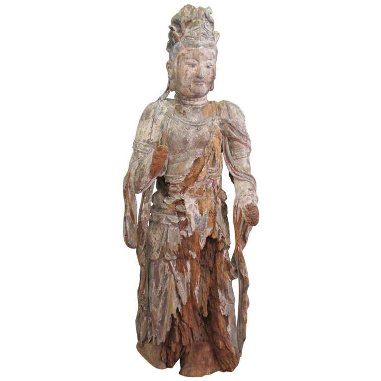 Standing Carved Wood Bodhisattva Avalokiteśvara, Guanyin, China, 1368-1644 For Sale