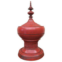 "Late 19th Century Burmese Red Lacquer Offering Vessel, ""Hsunok"""