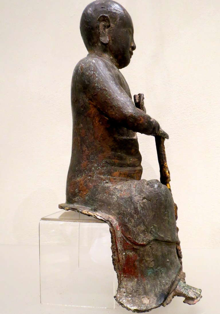 Chinese Bronze Figure of a Seated Luohan, Ming Dynasty, 1368-1644 For Sale