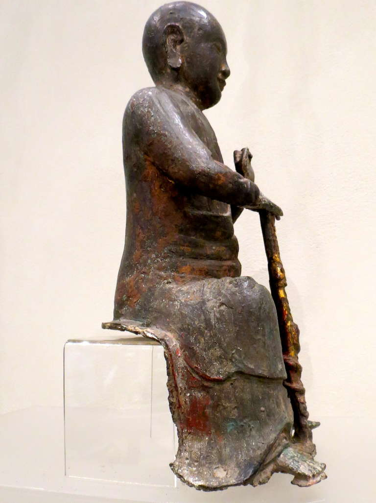 Bronze Figure of a Seated Luohan, Ming Dynasty, 1368-1644 For Sale 2
