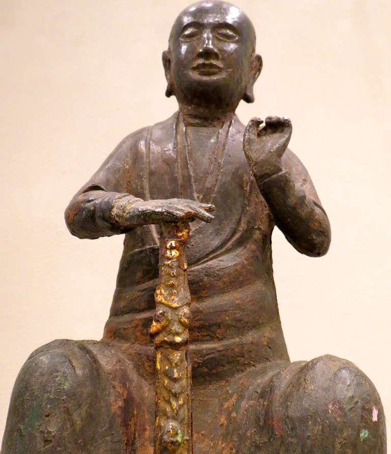 Bronze Figure of a Seated Luohan, Ming Dynasty, 1368-1644 For Sale 3