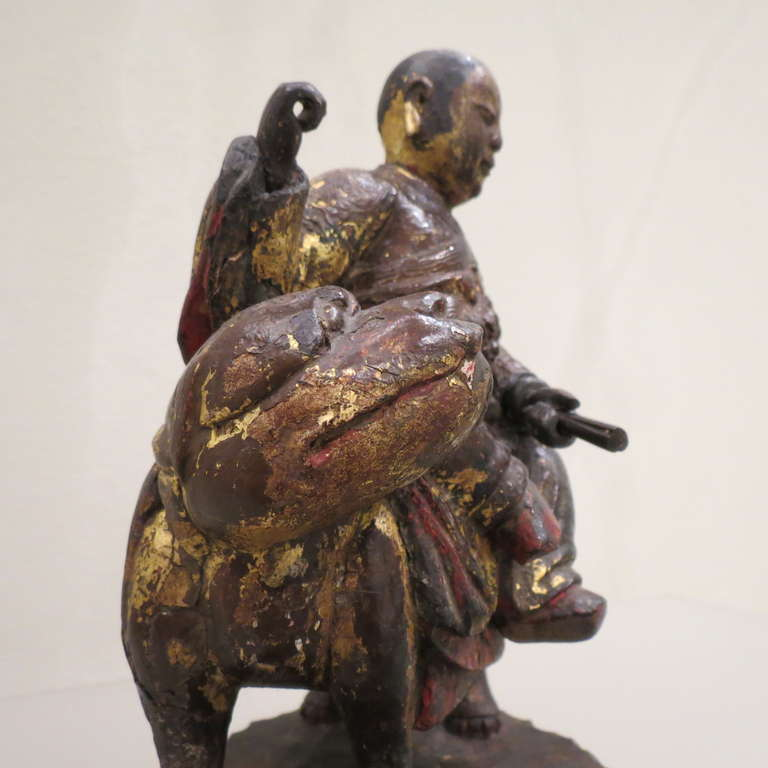 18th Century and Earlier Ancient Chinese Hand-Carved Lohan Monk Buddha On Lion, Kangxi, 1661-1722 For Sale