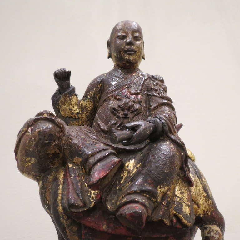 Giltwood Ancient Chinese Hand-Carved Lohan Monk Buddha On Lion, Kangxi, 1661-1722 For Sale