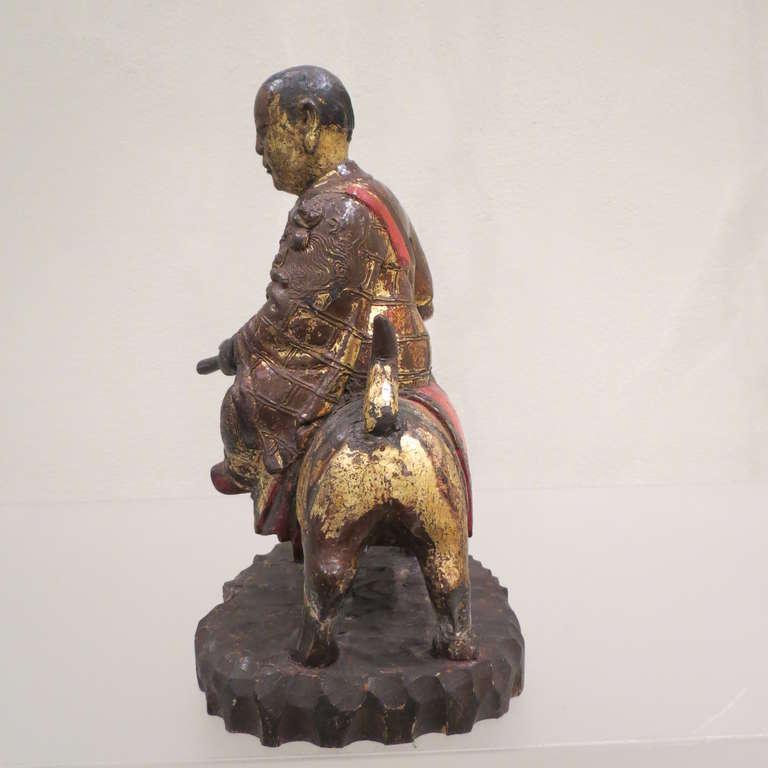 Ancient Chinese Hand-Carved Lohan Monk Buddha On Lion, Kangxi, 1661-1722 For Sale 1