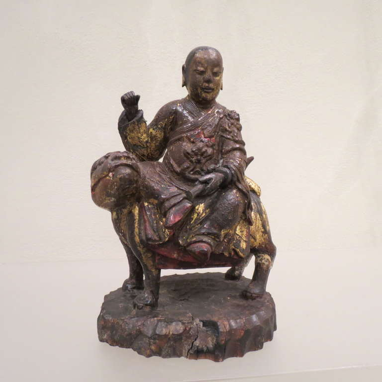 Ancient Chinese Hand-Carved Lohan Monk Buddha On Lion, Kangxi, 1661-1722 For Sale 2