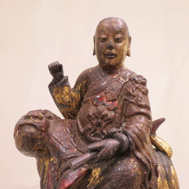 Ancient Chinese Hand-Carved Lohan Monk Buddha On Lion, Kangxi, 1661-1722 For Sale 4