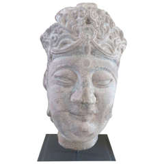 Early Ming Chinese Grey Stone Head of Guanyin