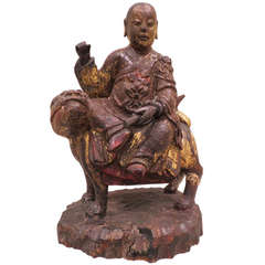 Ancient Chinese Hand-Carved Lohan Monk Buddha On Lion, Kangxi, 1661-1722