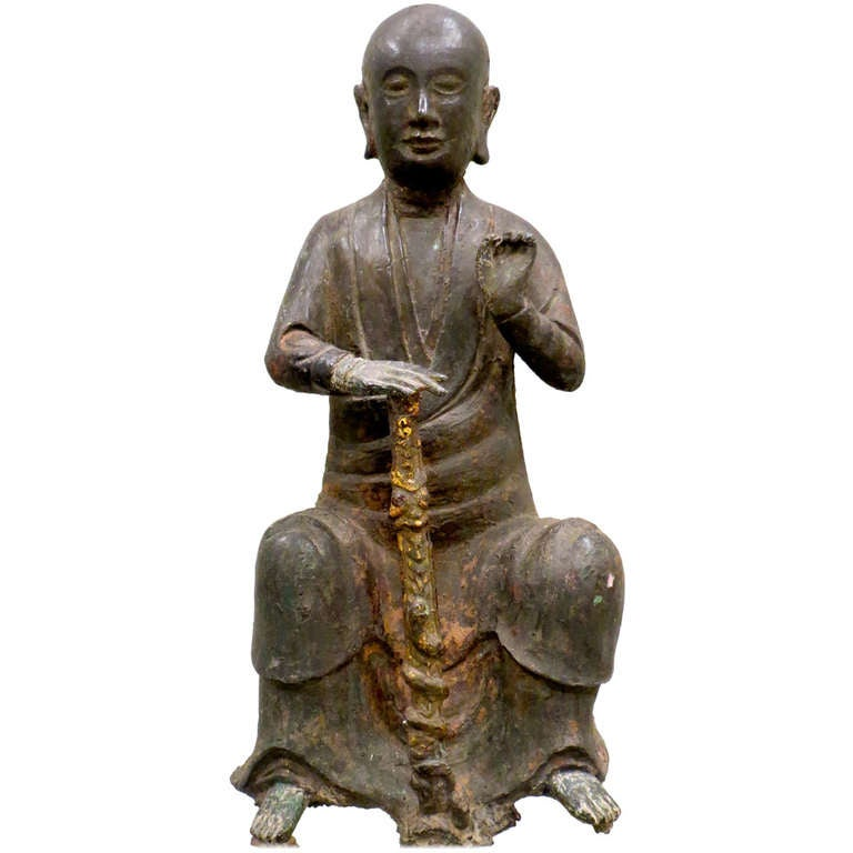 Bronze Figure of a Seated Luohan, Ming Dynasty, 1368-1644 For Sale