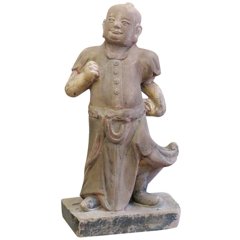 Large Chinese Mid-19th Century Sand Stone Sculpture of a Scholar For Sale