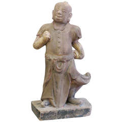 Large Chinese Mid-19th Century Sand Stone Sculpture of a Scholar