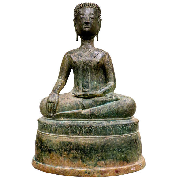 Fine 17th Century Northern Thai Bronze Statue of a Meditating Buddha For Sale