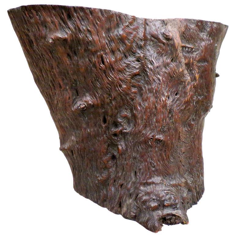 19th Century Large Chinese Scholar's Wood Brush Pot