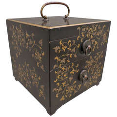 Japanese Black Lacquer Jewelry Box