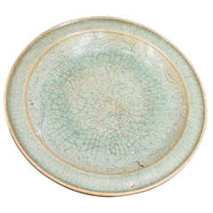 Antique Southeast Asian Celadon Ceramic Crackled Glaze Charger