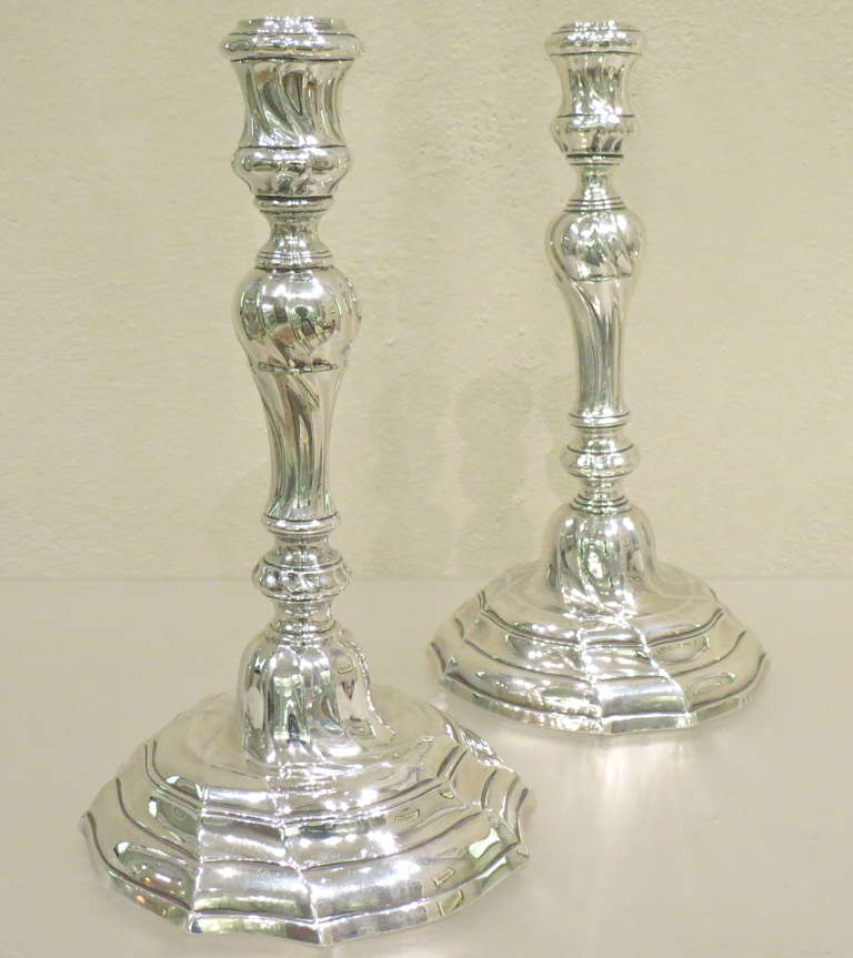 18th Century and Earlier Antique Belgian, Cast Silver Louis XVI Candlesticks For Sale