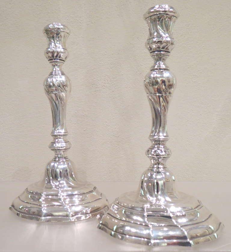 Antique Belgian, Cast Silver Louis XVI Candlesticks For Sale 1