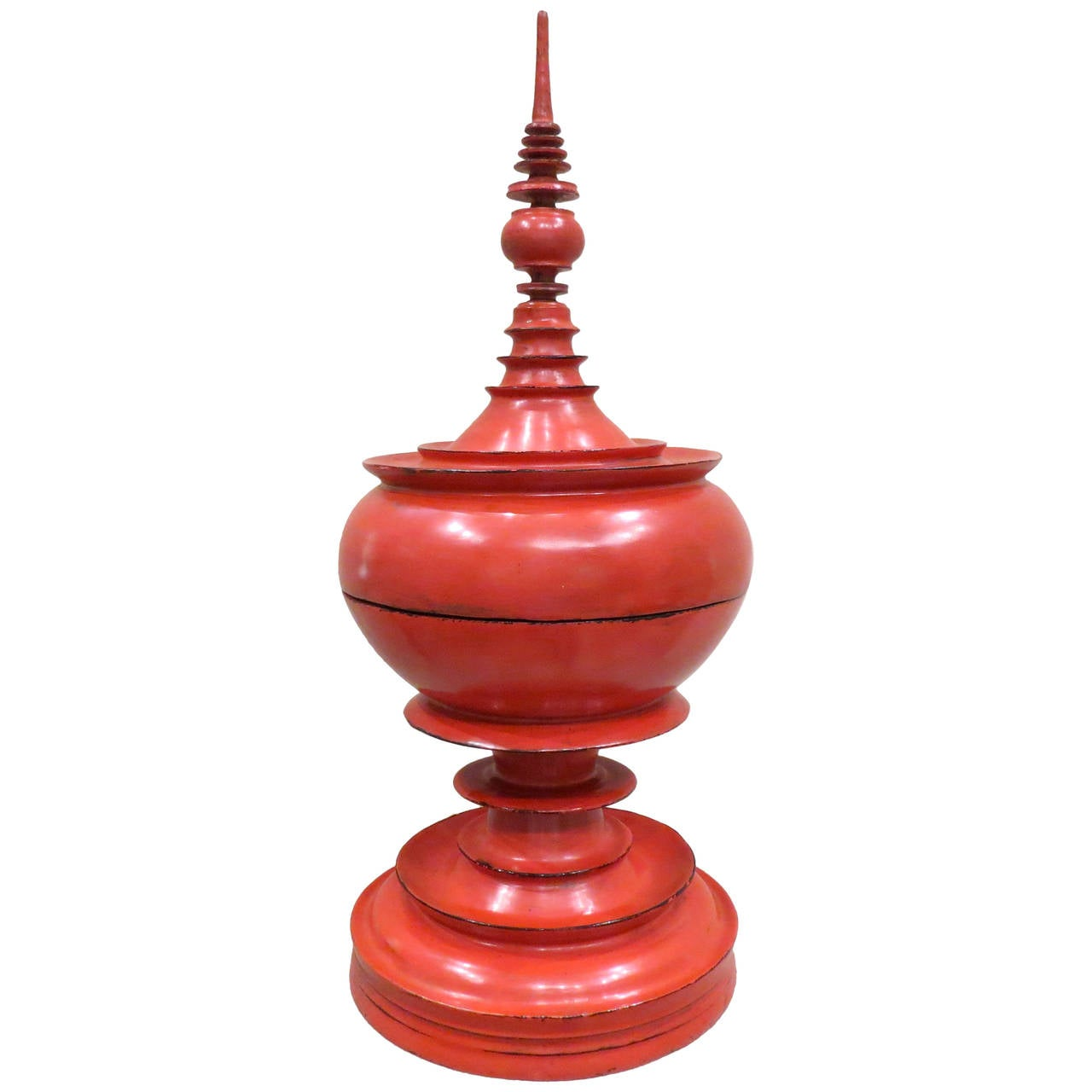 "Late 19th Century Burmese Red Lacquer Offering Vessel ""Hsunok"""