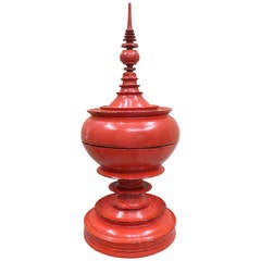 """Late 19th Century Burmese Red Lacquer Offering Vessel """"Hsunok"""""""
