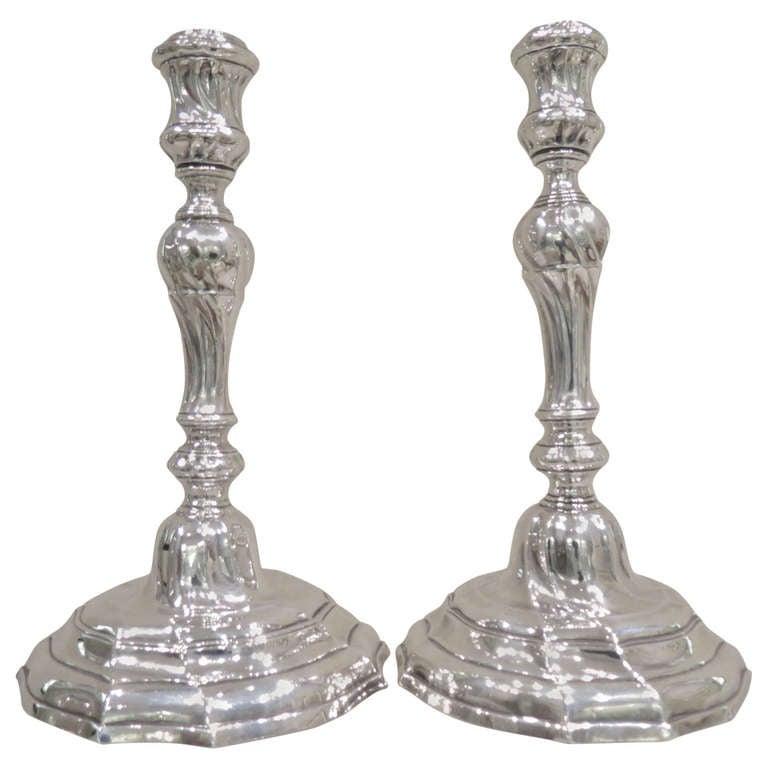 Antique Belgian, Cast Silver Louis XVI Candlesticks For Sale
