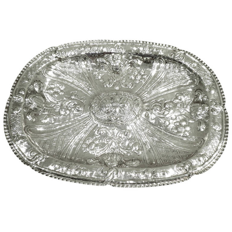 Antique 18th Century Spanish Silver Oval Platter