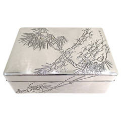 Fine Antique Meiji Period Japanese Silver and Wood Box