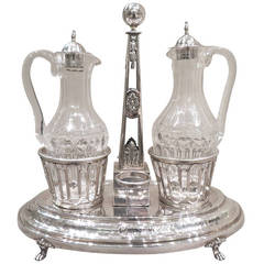 French Neoclassical Silver and Cut-Glass Two-Bottle Oil Cruet, Paris, 1787