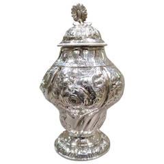 George II English Sterling Silver Tea Caddy, London, 1757