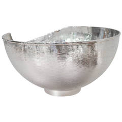 Silver Plated Large Bowl with Irregular Contour, Italy
