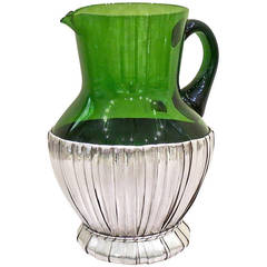 Glass and Sterling Silver Pitcher