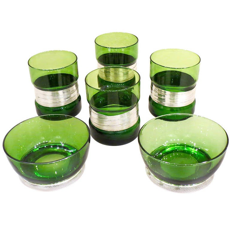 """Aperitivo"" Set in Green Glass, Silver Mounted"