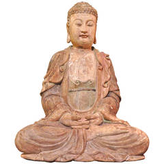 Chinese Wood Carved Seated Buddha Statue