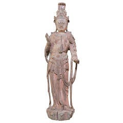 Ming Dynasty Wooden Sculpture of a Standing Guanyin, China, 1368-1644