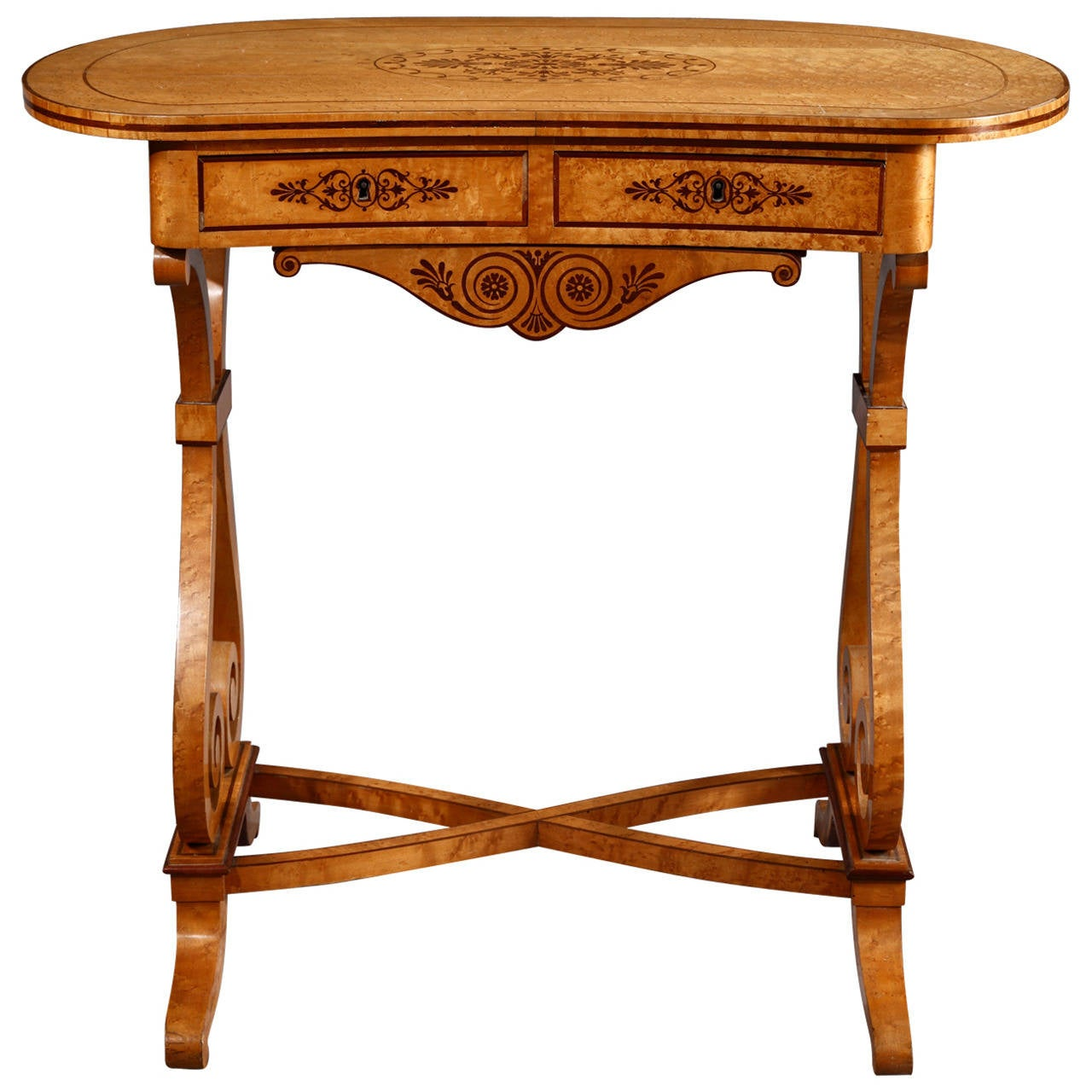Floating Square Coffee Table In Green And Black Slatelike: Early 19th Century Lemonwood And Amaranth Writing Table At