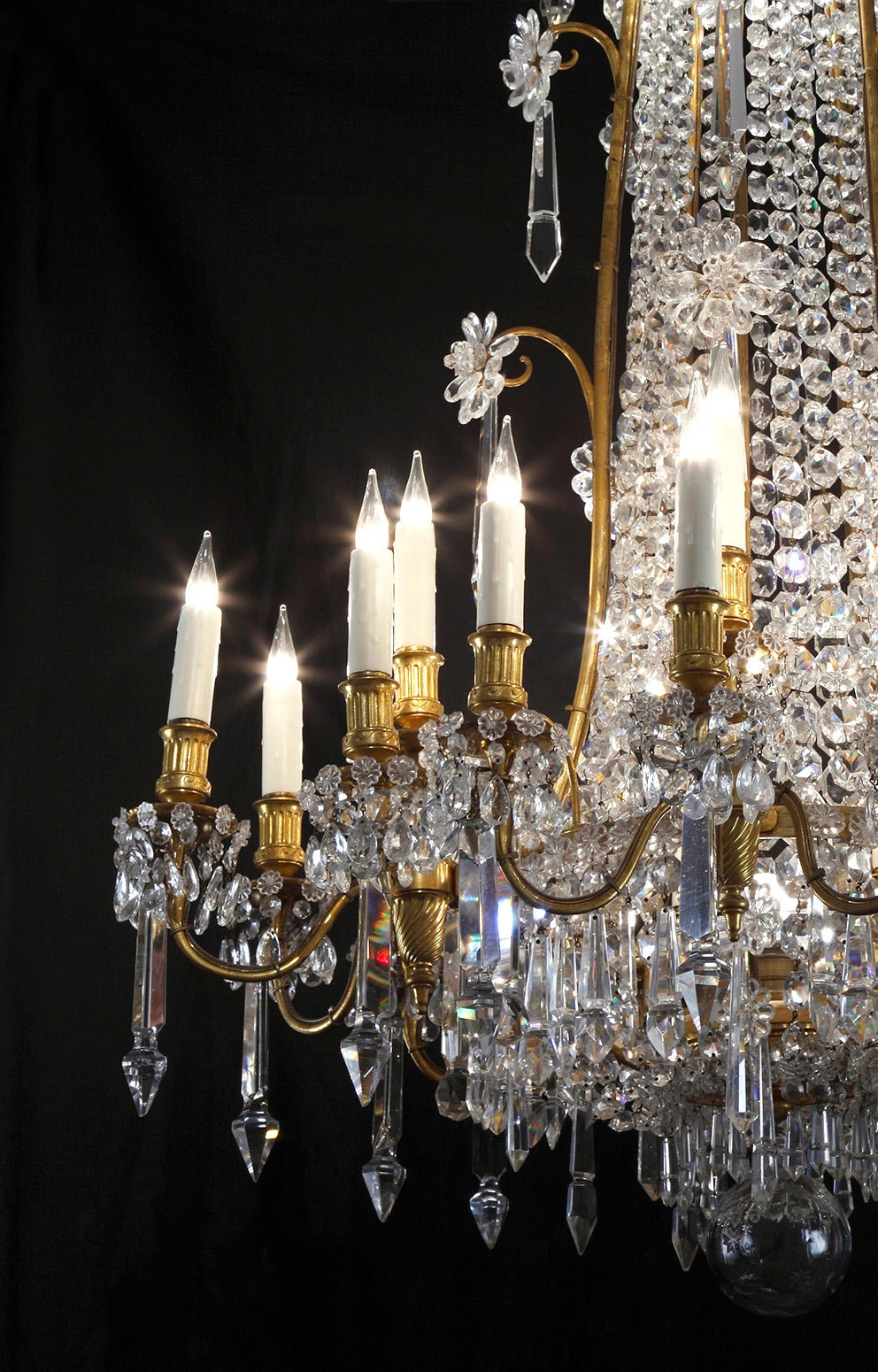 19th Century Baccarat Crystal And Gilt Bronze Chandelier