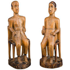 African Colonial Folk Art Figures